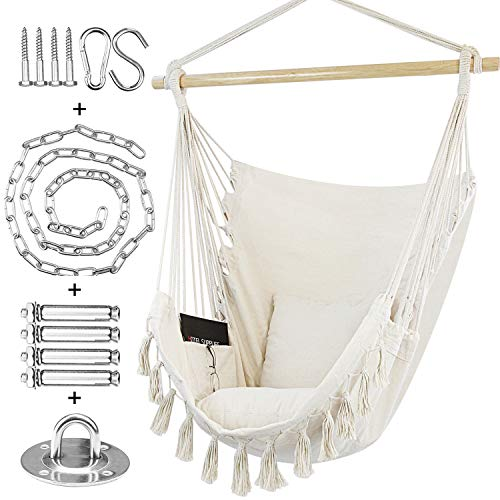WBHome Hammock Chair Swing with Hanging Hardware Kit- Beige, Cotton Canvas, Include Carry Bag & Two Seat Cushions, for Indoor Outdoor, Max. Weight 330 Lbs