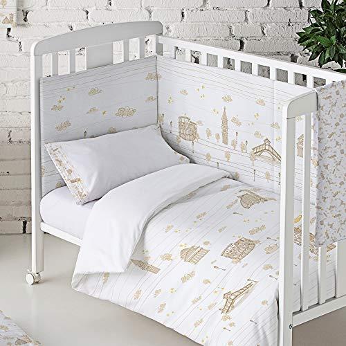 Eiffel Textile Baby Protector Cuna Acolchado. Chichonera bebe. 100% Algodon. Calidad Diseño Infantil. Tamaños 60 x 120 cm y 70 x 140 cm. Estampado. Italia Color Beige