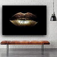 キャンバスに黒と金のセクシーな唇の絵美容メイクアートクアドロスポスターとプリントリビングルームの壁アート画像50x70cmフレームレス