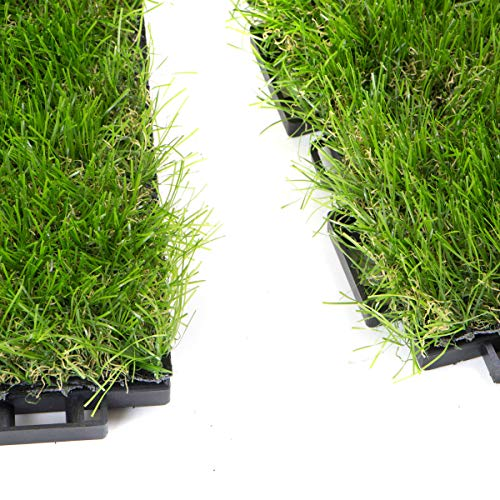STI Mattonelle Prato Sintetico 30mm 30cm x 30cm 9 Pezzi 0,81 Metri Quadri Click Clack Incastro Modulare