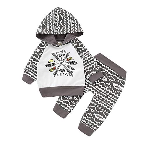 Baby Gifts,Newborn Infant Baby Boy Letter Hoodie T Shirt Tops+ Pants Outfits Clothes Set Gray