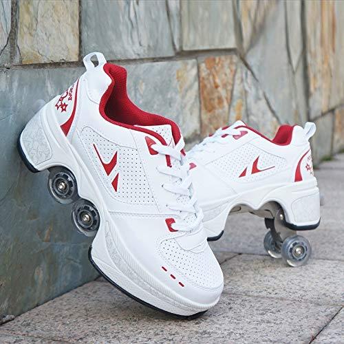 HUOQILIN Rollschuh für Damen,Inline-Skate,Roller Skates Sneakers,Verstellbare Quad-Rollschuh Stiefel,2-in-1 Mehrzweckschuhe Schuhe mit Rollen,Skateboardschuhe,Red-EU40