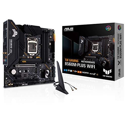 ASUS TUF GAMING B560M-PLUS WIFI, Scheda madre Intel B560 LGA 1200 micro ATX, PCIe4.0, 2x M.2, 8 + 1 fasi, Lan 2.5Gb, Intel Wi-Fi 6, DP, HDMI, USB 3.2 Gen 2, USB Type-C, supporto TB 4, Aura Sync RGB