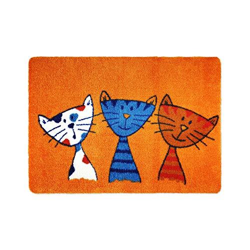 deco-mat Fußmatte Katze (40 x 60 cm, Orange) • rutschfeste und waschbare Fußmatte für außen/innen • saugstarke Schmutzfangmatte vor In-/Outdoor mit lustigem Katzenmotiv