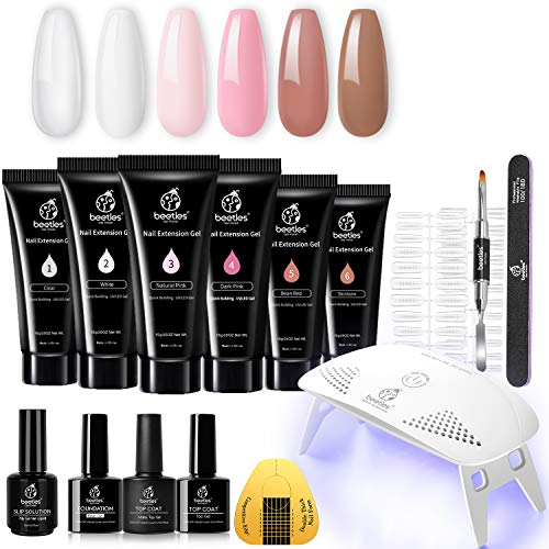 Beetles Poly Extension Gel Nail Kit, Nail Builder Gel Nail Enhancement Trial Kit Professional Nail Technician All-in-One French Kit with Mini Nail Lamp Base Matte Top Coat Slip Solutiont Starter Kit