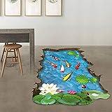 N-brand PULABO Adhesivo de pared, 3D Stream, suelo extraíble, vinilo artístico, decoración de pared para salón, PVC, papel pintado de alta calidad, elegante