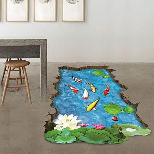 U/K PULABO Wandaufkleber, 3D Stream Boden Abnehmbare Wandtattoos Vinyl Kunst Wohnzimmer Deco Wandaufkleber PVC Tapete Hohe Qualität Beliebt