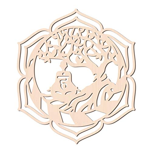 GLOBLELAND 12Inch Buddha Tree of Life Wooden Wall Art Sacred Geometry Home Decor, Laser Cut Wooden Wall Sculpture for Wall Hanging Decor Art Home Decoration