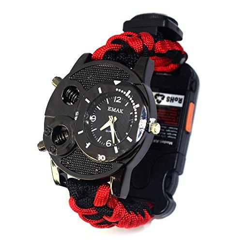 Al Aire Libre Paracord Supervivencia Multifunción Reloj Pulsera con Silbido Brújula Termómetro Linterna Luz Láser Infrarroja para Expedition Camping,Red
