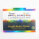 MOVAL 18 Colores/Juego de bolígrafos de Tinta acrílica de 0.7 mm para Tazas de Piedra cerámica, Porcelana, Tazas de Madera, Lienzo, Lienzo, Pintura, Juego de 18 Colores