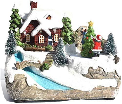 Regalo de Navidad de los niños de vacaciones luminiscentes LED de iluminación decoración de la casa con la música de Navidad Village Cottage Ciudad del ornamento del edificio