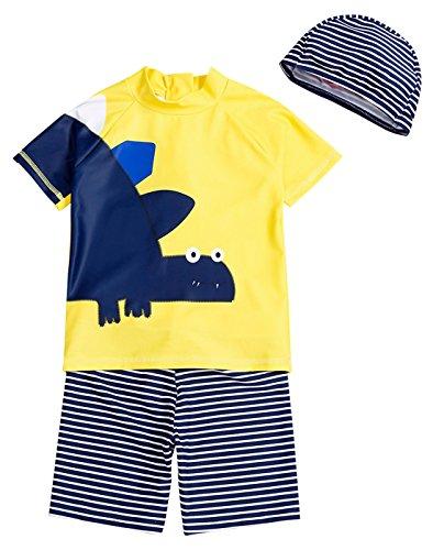 Happy Cherry Kinder Jungen Badeanzug Schwimmanzug Schnell trocknend Bade-Set 3 Teilliges Schwimmbekleidung aus Badeshirt, Badehose Bademütze mit Dinosaurier Muster