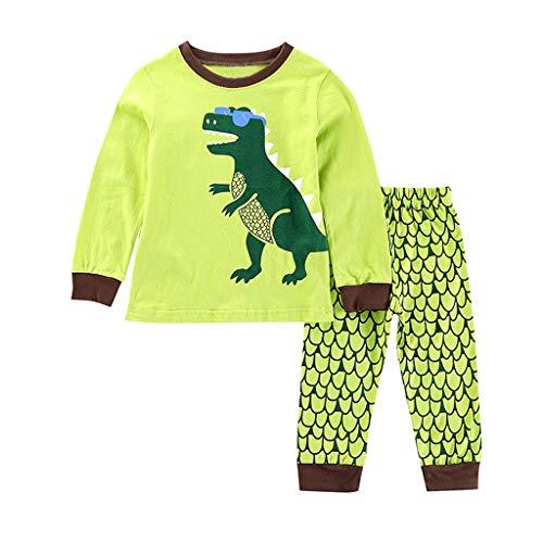 1-7 Años,SO-buts Recién Nacido Pequeños Bebé Niño Dinosaurio Imprimir Dibujos Animados Tops Pantalones Trajes Casuales Pijamas Ropa De Dormir Ropa (Verde,1-2 años)