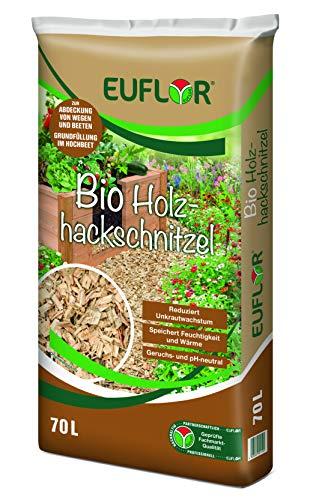 Euflor Bio Hackschnitzel 70 L Sack, natürlicher Rohstoff aus Nadelholz, zur Abdeckung von freien Flächen im Garten und auf Wegen