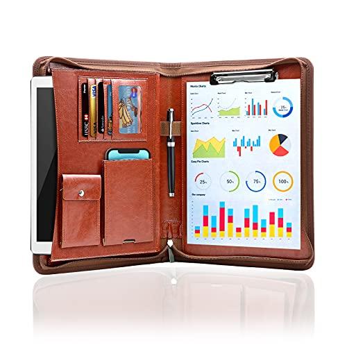NEWYES A4 Portadocumenti Cartella per Conferenze in Pelle+Zipper,Padfolio con Tasche e Supporti di Carta per il Telefono e Pad,CartelleSistemazione per Ufficio e Viaggio (Marrone)