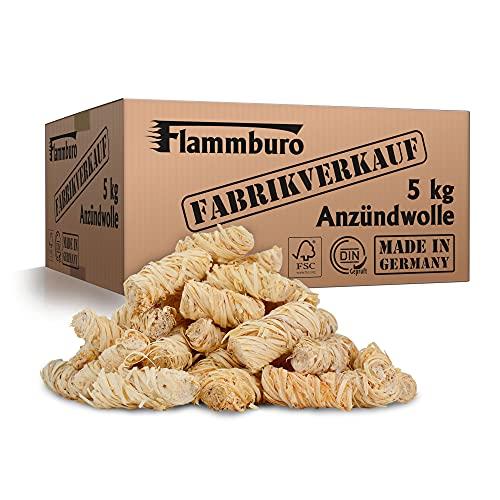 FLAMMBURO (5 kg) Öko-Anzündwolle direkt vom Hersteller, Holzwolle, zertifizierter Holz-Ursprung, FSC®-zertifiziertes Produkt, pflanzliches Wachs, ökologische Grillanzünder, Kaminanzünder, 5 kg