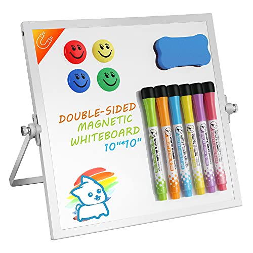 """WOGOON Dry Erase White Board, 10""""X10"""" Portable Magnetic Whiteboard with Stand, Double-Sided Desktop Whiteboard Easel for Kids Students Drawing Teaching Memo Office, 6 Markers, 4 Magnets & Eraser"""
