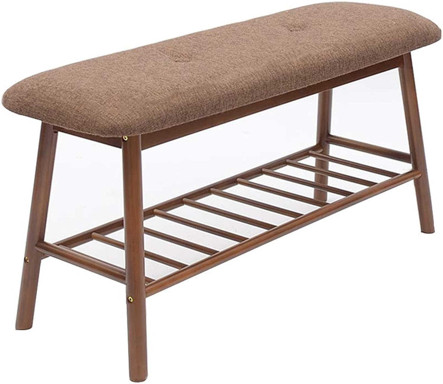 Multfunctional Bamboo Stool Seat with Storage Shelf Assembly Needed, Durable, Anti-Slip, Lightweight Chair for Living Room, Bedroom, Garden (color   Retro color, Size   84cm)