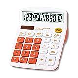 Meichoon Grande Sobremesa Calculadora Básica de Office Batería Solar Dual Power Calculadora Financiera Dedicada Pantalla de 12 Dígitos Función Estándar Calculadora Multifuncional Naranja KA08