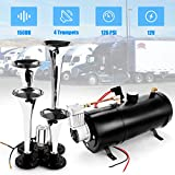 12V 150DB Car Air Horn Kit, 4 Trumpet Train Vehicle Air Horn with 120PSI Air Compressor for All Kinds of Vehicle, Truck, Car or SUV (Black)