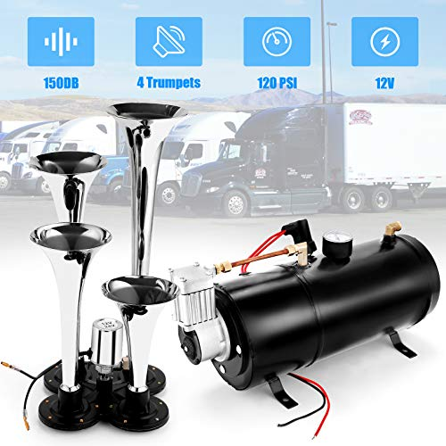 Angotrade 12V 150DB Car Air Horn Kit, 4 Trumpet Train Vehicle Air Horn with 120PSI Air Compressor for All Kinds of Vehicle, Truck, Car or SUV (Classic Black)