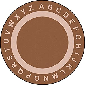 Joy Carpets Kid Essentials Early Childhood Round Endless Alphabet Rug, Mocha, 7'7″