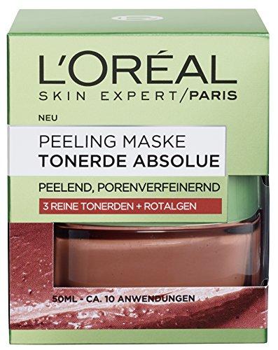 L'Oréal Paris Tonerde Absolue Peeling Maske, Gesichtsmaske mit reiner Tonerde und Rotalgen-Extrakt, reinigt intensiv, verfeinert Poren und glättet den Teint, 50ml