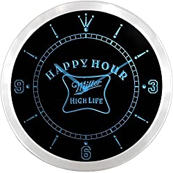 Miller High Life Happy Hour Bar 3D Neon Sign LED Wall Clock NC0066-B