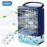 Evaporative Air Cooler,Personal Air Cooler with 4000mAh Battery & Remote,Portable Mini Air Cooler (Deep Blue)