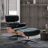 Sillón y otomano, diseño clásico moderno de mediados de siglo, cuero natural, madera de alta densidad