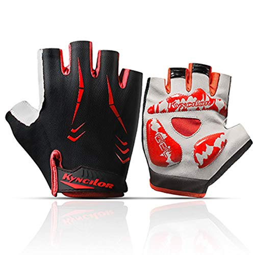 Cycling Gloves for Women,Dirt Bike Gloves Men Motorcycle Mountain MTB Dirt Riding Road Gel Padded Half Finger Shockproof Absorbing Short Breathable Anti Slip Summer,red,XL 10.5cm