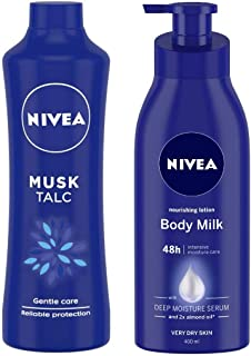 NIVEA Talc, Musk Mild Fragrance Powder, 400g and Nivea Nourishing Lotion Body Milk with Deep Moisture Serum and 2x Almond Oil for Very Dry Skin, 400m