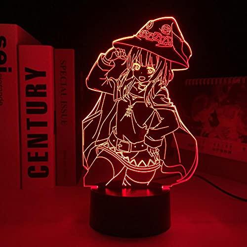 Lámpara de anime 3D para niños, KonoSuba Megumin Luz de noche LED para decoración de dormitorio de cumpleaños Luz Manga KonoSuba Mesa de habitación Acrílico para regalo de cumpleaños