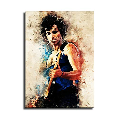 YUANZHIG Keith Richards Guitarist Watercolor Poster Art Canvas Print Home Decor Paintings Wall Art Pictures Posters Presents Bedroom Decor Posters Suitable