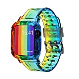 SEARME TREND Crystal Clear Apple Watch Band 38mm 40mm 42mm 44mm with Bumper Case, Women Men Sport iWatch Strap Compatible for Apple Watch Series SE 6/5/4/3/2/1