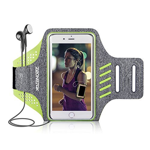 Zeonetak Schweißfest Sport Armband für Samsung, iPhone 6/7/8/X/XS/XS MAX/XR/iPhone 11,HUAWE P30/P20/mate 30/XiaoMi Breathable Handytasche Armband mit Kabelfach/Kartenhalter, Schlüsselschlitz…