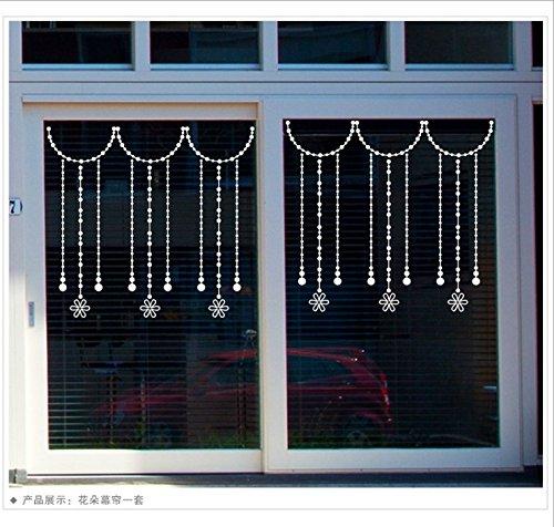 Kerst kralen gordijn winkels vitrine bruiloft restaurant Koffie creatieve kleding gordijnen glazen deur muur sticker decor posters, bloemen gordijn (100cm*46cm),