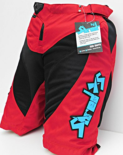 Childrens Mountain Bike Cycling Shorts (Red, 28)