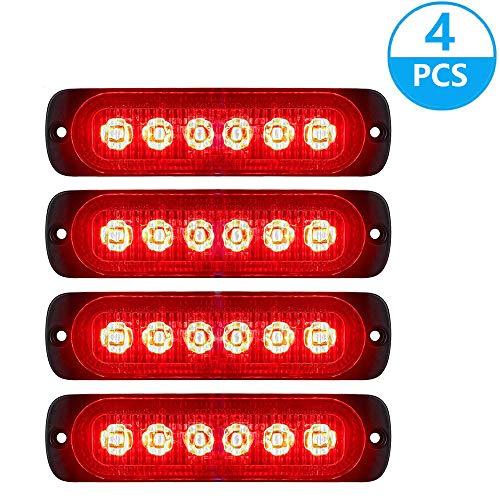 Lot de 4 feux de gabarit stroboscopiques latéraux pour voiture et camion 6 LED Ambre Clignotant Avertissement de détresse DC 12 24 V (rouge)