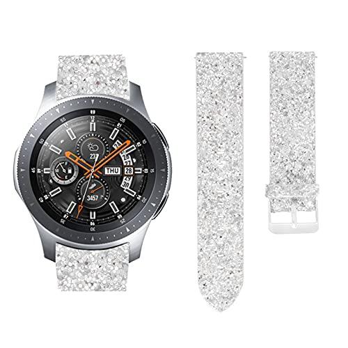 TechCode Galaxy Watch 46 mm Bandas, 22mm Correa de Reloj de Cuero Genuino Correa de Repuesto Brillante Pulsera Ajustable para Galaxy Watch 46mm/ Galaxy Watch 3 45mm/ Gear S3 (Plata)