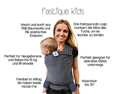 Fastique Kids® Babytragetuch – elastisches Tragetuch für Früh- und Neugeborene Kleinkinder – inkl. Baby Wrap Carrier Anleitung – Farbe grau - 3