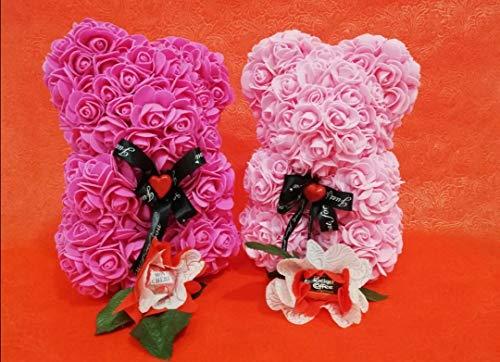 Orso di Rose Orsetto di Rose Orsacchiotto Altezza 25 cm Teddy Bear Rosse Idea Regalo Regali per Lei Fidanzata Compleanno Mamma Anniversario San Valentino
