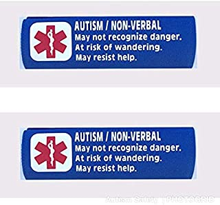 2 Pack Non-Verbal Autism Car Seat Harness Medical Alert Seat Belt Covers (Royal Blue)