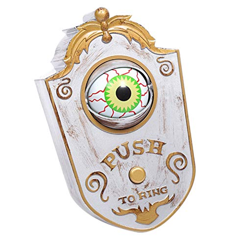 Leobtain Halloween Ghost One-Eyed Door Bell Decor Animated Eyeball Halloween Doorbell Decorations Light Up Talking Eyeball Doorbell Trick Idea Decoration