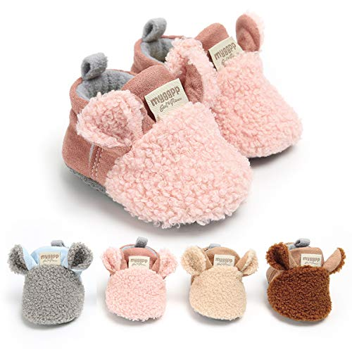 Borlai Baby Warm Fleece Booties Winter Cute Cartoon Baby Shoes Soft Sole Anti-Slip Shoes