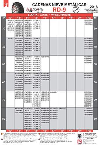 RD9 - Catene da Neve Metalliche mm Misura n. 90 Set 2 pz Guanti Inclusi