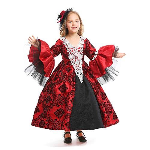 Vestido De Corte Gótico De Lolita para Niña Vestido De Vampiro Medieval Victoriano De Halloween Disfraz De Fiesta De Disfraces Retro para Ropa De Paternidad De Mujeres
