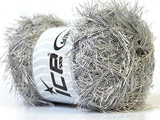 LG 100 gram Silver Grey Eyelash Yarn Ice Fun Fur 164 Yards