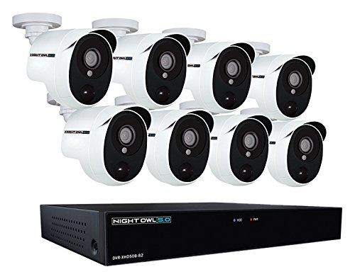 Night Owl XHD502-88P-B 8 Channel 5MP Extreme HD Video Security DVR & Wired Infrared Cameras with 2 TB HDD, White