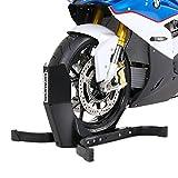 ConStands Easy Plus - Béquille moto cale bloque roue de moto pour les remorques - support de parking avant arriere Harley 15 16 17 18 19 20 21 pouces